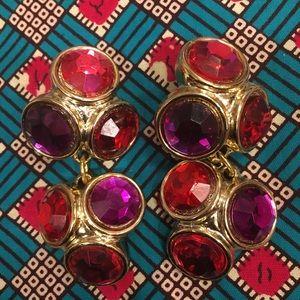 HUGE Runway Earrings in Red, Gold, Pink & Purple!